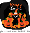 Happy Halloween with witch cat and pumpkins 44381149