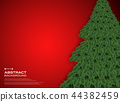Christmas tree on gradient red background. 44382459
