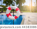 Life ring and pool background with copy space 44383086