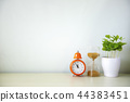 Indoor plant and clock on wooden table  44383451