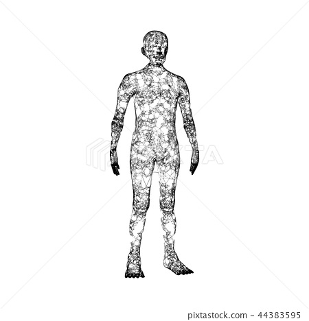 Black human body isolated on white background. Artificial intell 44383595