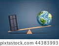 3d rendering of a wooden seesaw on a blue background with a black oil barrel overweighing an Earth 44383993