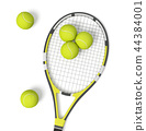 3d rendering a single tennis racquet lying with a yellow balls on white background. 44384001