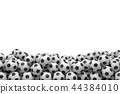 3d rendering of many football balls lying in a big pile on top of each other on a white background. 44384010