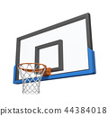 3d rendering of a basketball hoop with an empty basket and transparent backboard. 44384018