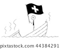 Cartoon of Politician Standing Depressed on Sinking Boat Waving the Flag of Swiss Confederation or 44384291