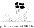 Cartoon of Politician Standing Depressed on Sinking Boat Waving the Flag of Kingdom of Sweden 44384294