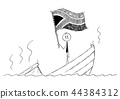 Cartoon of Politician Standing Depressed on Sinking Boat Waving the Flag of Republic of South Africa 44384312