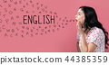 English with alphabet letters with young woman speaking 44385359