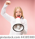 The little girl making announcement with megaphone 44385980