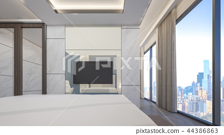 Luxury bedroom with cityscape , 3d rendering 44386863