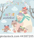 deer, bear, winter 44387205