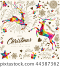 Christmas and New Year vintage low poly card 44387362