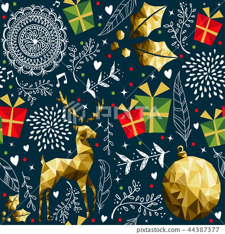 Christmas vintage holiday background pattern 44387377
