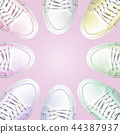 Circle from colorful sneakers. 44387937