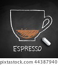 Vector chalk drawn sketch of Espresso coffee 44387940