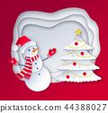 Cut paper art style illustration of Snowman 44388027