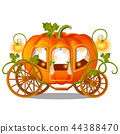 Vintage horse carriage of pumpkin with florid ornament isolated on white background. Sketch for a 44388470