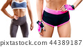 Collage of fitness woman standing with her hands on belt. 44389187