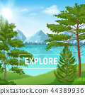 Realistic Pine Forest Sunny Landscape 44389936