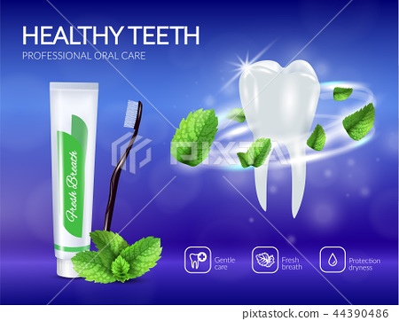 Dental Care Products Realistic Poster 44390486