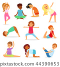 Yoga kids vector young child yogi character training sport exercise illustration healthy lifestyle 44390653