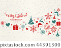 Christmas background with element icons banner 44391300