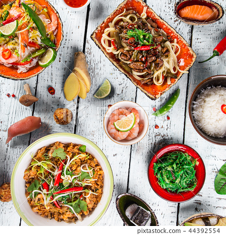 Various of asian meals on rustic background , top view , place for text. 44392554