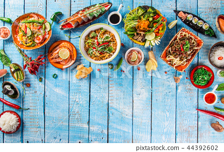 Various of asian meals on rustic background , top view , place for text. 44392602