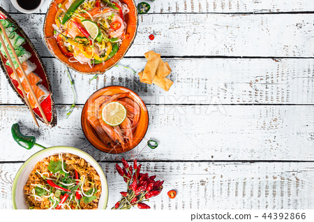 Various of asian meals on rustic background , top view , place for text. 44392866