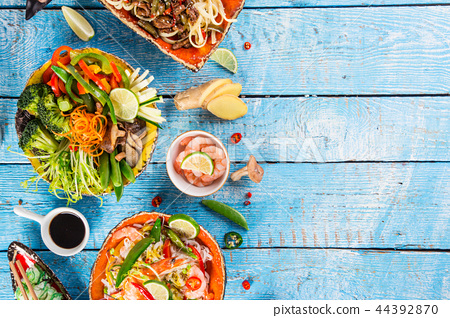 Various of asian meals on rustic background , top view , place for text. 44392870