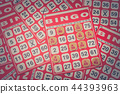Red bingo card with white chip. 44393963