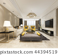 luxury and modern living room with leather sofa 44394519