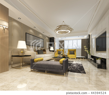 luxury and modern living room with leather sofa 44394524