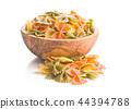 Farfalle pasta. Colorful italian pasta. 44394788