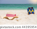 Beach sandals on the sandy sea coast, summer concept holiday and 44395954