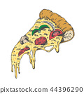 A Piece of Yummy Pizza, Vintage Look Hand Draw. 44396290