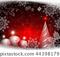Christmas red background with balls and an abstract Christmas tree. 44398179
