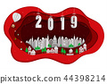 Happy new year 2019 with white city on red scene  44398214