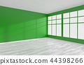 Empty green room corner with window & white floor 44398266