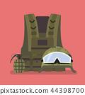 Military helmet vest and hand grenade 44398700
