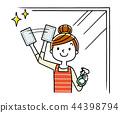 清洗窗口,妇女的主妇 44398794