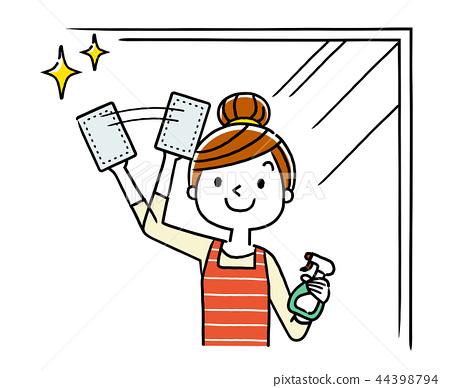 창문 청소하는 주부 여성 44398794