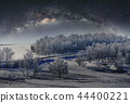 Winter landscape, snow forest with starry sky 44400221
