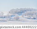 Winter landscape, white snow field with forest 44400222