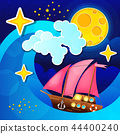 Night storm waves and wind a sailing ship 44400240