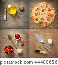 pizza and food ingredients at wooden table 44400656