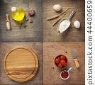 food ingredients and spices at wooden table 44400659