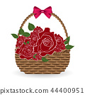 basket and red rose with bow vector on white 44400951