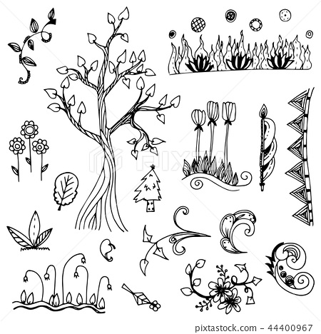 flower and tree doodle from free hand drawing 44400967